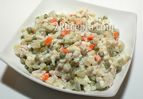 оливье с мясом салат рецепт
